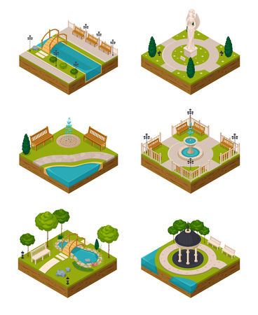 Set of isometric landscape design compositions for city constructor with trees ponds fountain benches isolated vector illustration Illustration