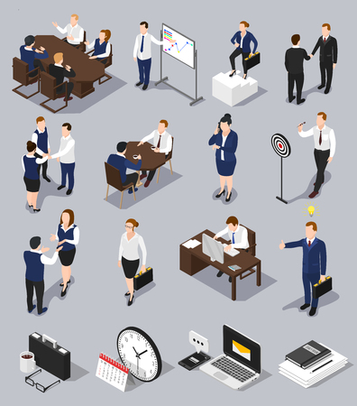 Isometric people business collection with isolated conceptual images of human characters with office machines and equipment vector illustration