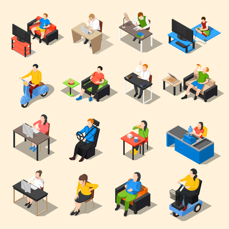 Sedentary icon isometric collection of sixteen isolated image compositions of sitting human characters at different work vector illustration Иллюстрация