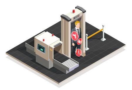 De passagier van het vliegtuig gaat xray controle over bij luchthaven op witte 3d isometrische vectorillustratie als achtergrond