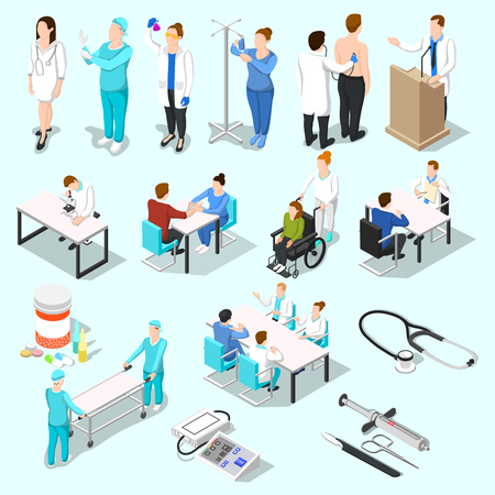 Isometric people doctor set of isolated medical equipment pills and human characters of doctor and patients vector illustration Stock Illustratie