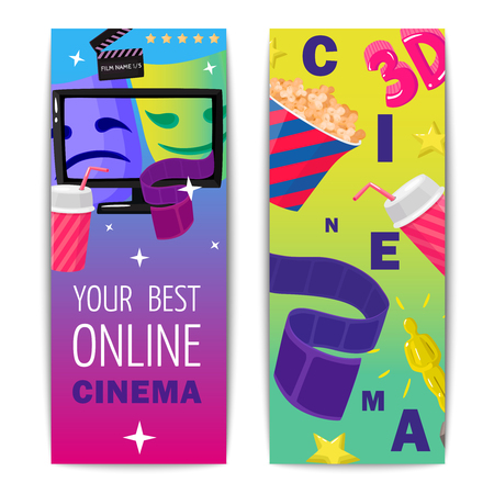 Cinema two isolated vertical banners with prize figurine popcorn 3d film online viewing images flat vector illustration Ilustração