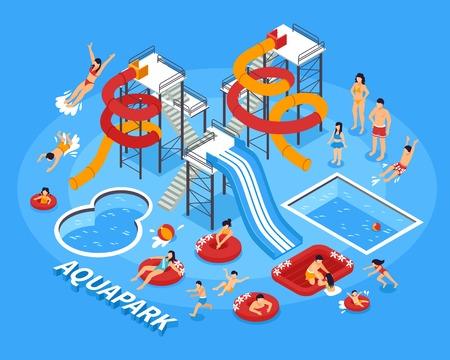 水公園と泳ぐ人とレクリエーションのシンボル等尺性ベクトル図