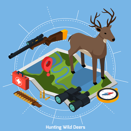 Colored hunting isometric concept with deer at the center on map on blue background vector illustration