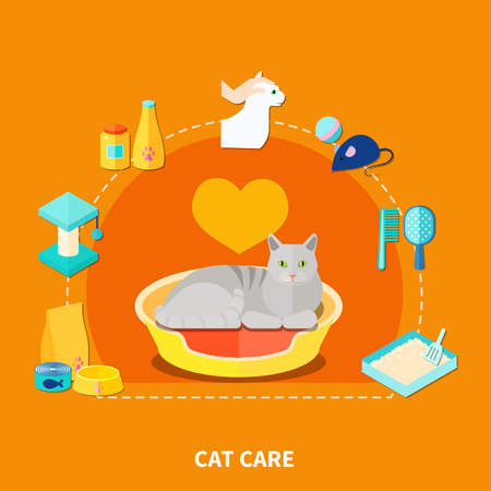 Flat design concept with various pet care accessories for cats on orange background vector illustration Illustration