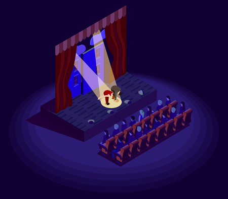 Isometric 2d icon with actors bowing after theatre performance vector illustration Illustration