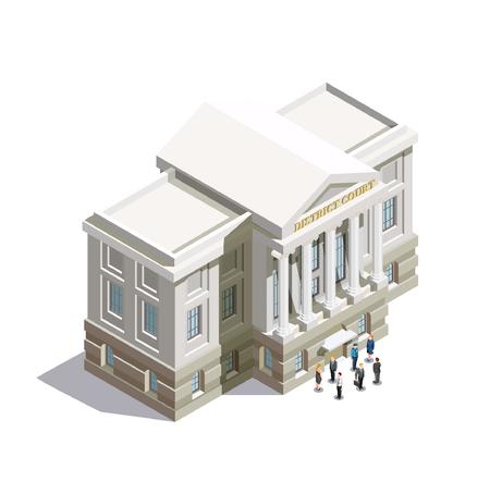 법률 법원 건물 및 흰색 배경에 입구에서 사람들과 법학 아이소 메트릭 아이콘 3d 벡터 일러스트 레이 션