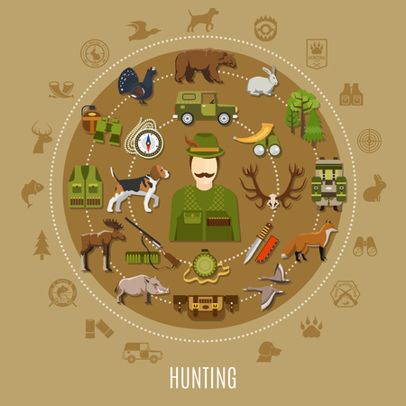 Hunting concept with uniform rifle dog and wild animals flat vector illustration Illustration