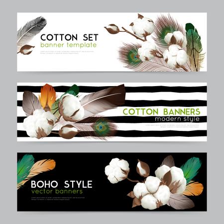 Cotton bolls with feathers boho style decoration Illustration