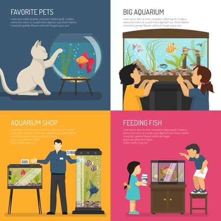 small business computer: Aquarium design concept compositions set