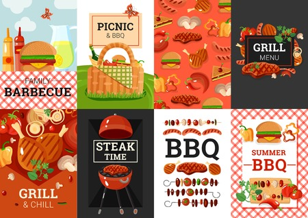 Barbecue grill picnic summer outdoor party weekend Illustration