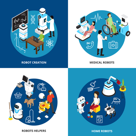Isometric design concept with robots creation, high tech machines for medicine, assistance and home isolated vector illustration