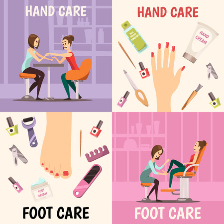 Manicure concept icons set with hand and foot care symbols cartoon isolated vector illustration Illusztráció