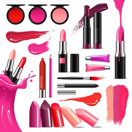 Labbra trucco accessori bellezza collezione realistica con rossetto lucido balsamo liner lucido intenso colori illustrazione vettoriale Archivio Fotografico - 81073404