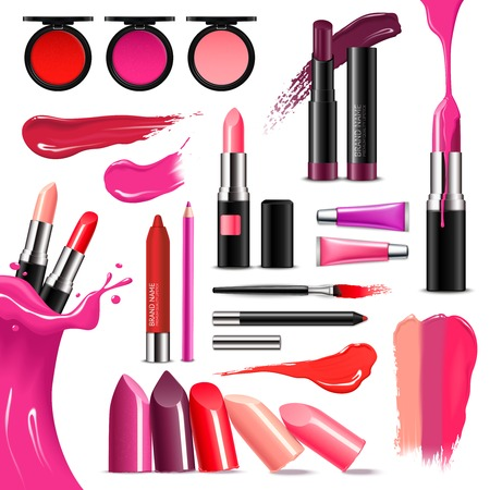 Lip makeup beauty accessoires realistic collection with lipstick gloss balm liner high-shine intense colors vector illustration