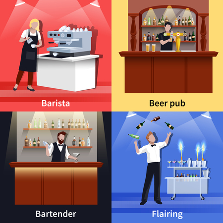 Four square cocktail people icon set with barista beer pub bartender and flairing descriptions vector illustration