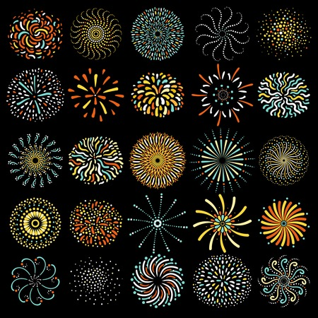 Festive colorful round firework icons big collection on black background poster abstract isolated vector illustration Иллюстрация