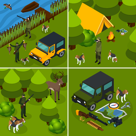 Four square isometric hunting icon set hunter in forest with tents and a gun vector illustration Illustration