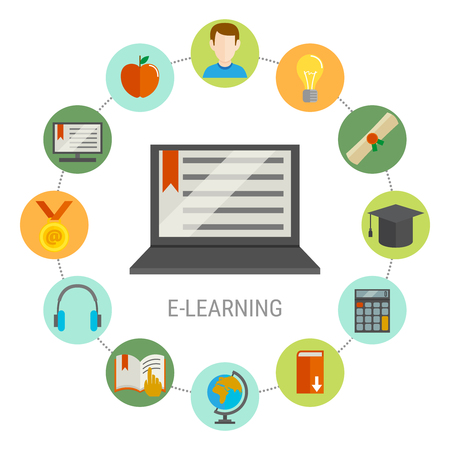 Elearning round composition with round little icon set combined around needed for student laptop vector illustration Çizim