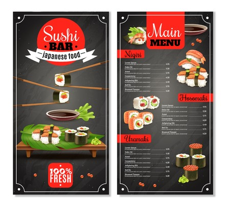 Sushi bar menu with label, chopsticks, price list for nigiri, maki on black background isolated vector illustration