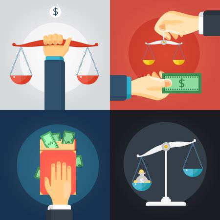 Plano de diseño de la composición de la ley 2x conjunto con la balanza de equilibrio y dinero en efectivo en fondos de colores aislados ilustración vectorial