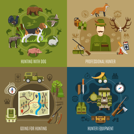Hunting concept icons set with equipment symbols flat isolated vector illustration