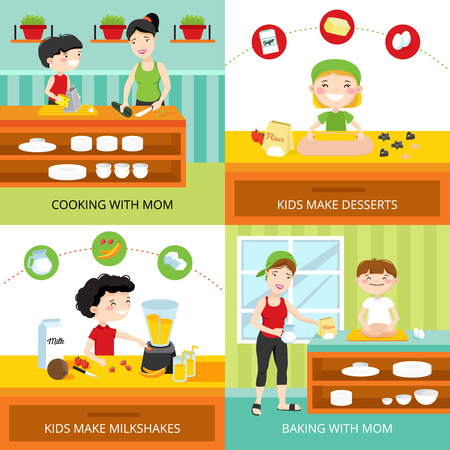 Flat design concept with kids making milkshakes and desserts, cooking and baking with mom isolated vector illustration Illustration