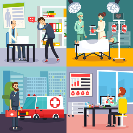clinical staff: Four square colored male doctor character flat icon set with people in the clinic vector illustration