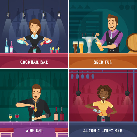 Barman design concept in cartoon style with male and female bartenders at bar racks flat vector illustration Illustration
