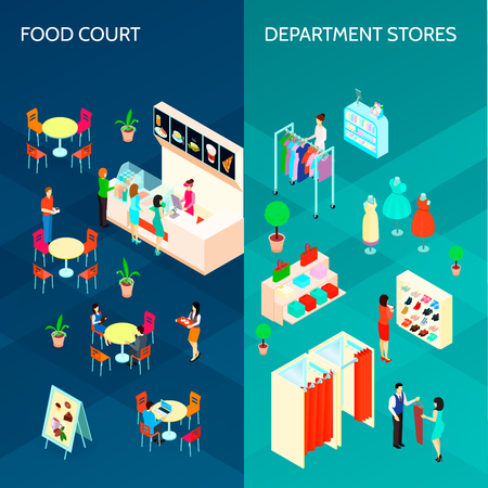 Shopping mall two vertical banners with food court and department stores isometric  design compositions vector illustration Çizim