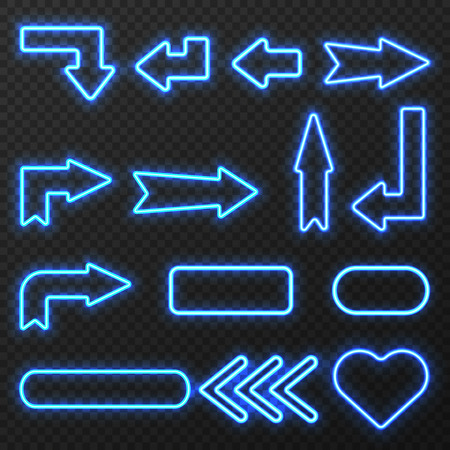 Glowing in night neon light outlined signs arrows and symbols set on black background isolated vector illustration Illustration