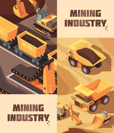 Set of two vertical mining banners with isometric images of trucks lorries and other industrial machinery vector illustration
