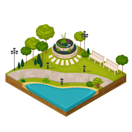 Isometric fragment of park landscape constructor with pond flowerbed benches streetlights and trees vector illustration Illustration