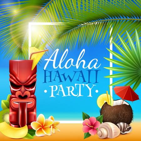 Hawaiian party frame with tiki mug, coconut cocktail, shells, flowers, palm branches on blue background vector illustration
