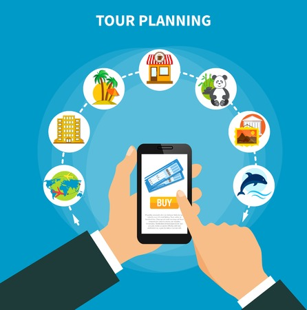 Tour planning design concept with man holding smartphone with information on screen about tickets for travel flat vector illustration