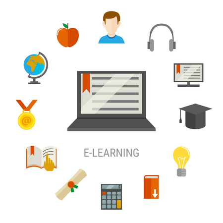 Elearning flat composition with laptop at the center and study things icon set combined in big round vector illustration