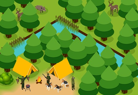 Isometric colored hunting composition group of hunters with tents and dogs in the forest vector illustration Imagens - 81103997