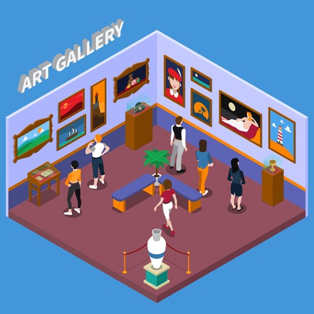 Art gallery with paintings, exhibits on pedestals, benches for visitors on blue background isometric vector illustration Иллюстрация