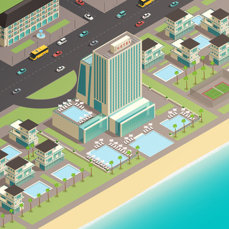 Isometric fragment of city landscape with multistory building of luxury hotel in coastal area vector illustration