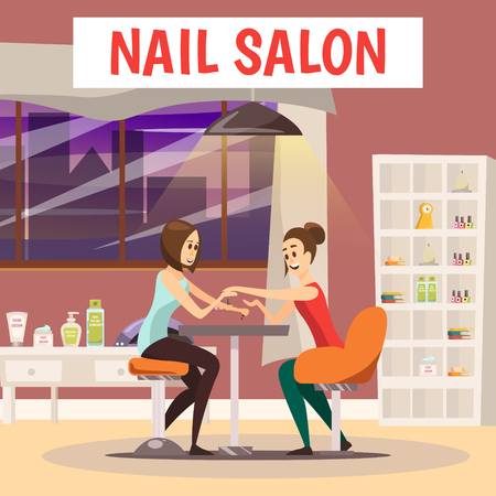 Nail salon background with manicure and pedicure symbols cartoon vector illustration