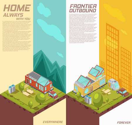 Vertical isometric banners with advertising of mobile house on background.