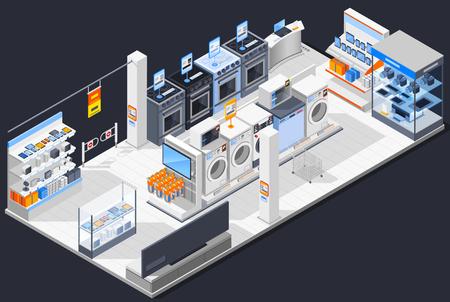 Electronics supermarket isometric composition