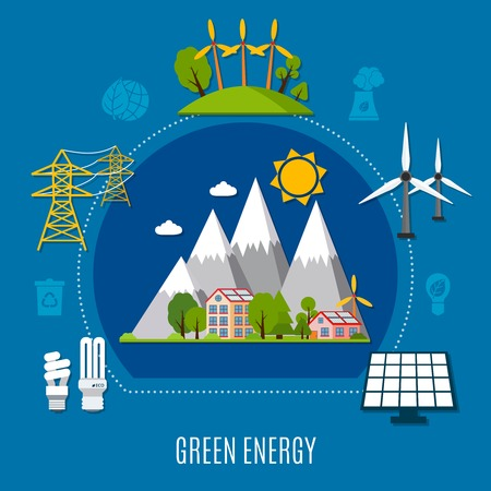 Green energy composition with house in mountains with solar batteries, windmill on blue background flat vector illustration