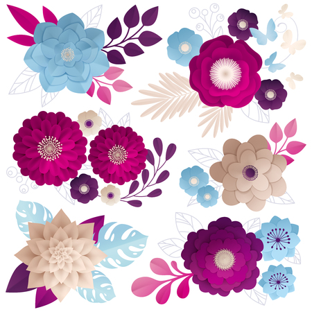 종이 꽃 조성 자홍색 마젠타 색 딥 퍼플과 블루 베이지 색 흰색 배경 벡터 일러스트 레이 션에에서 설정 일러스트