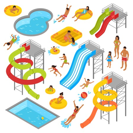Aqua park isometric icons set with people in swimsuits resting swimming sunbathing and waterpark construction isolated vector illustration Illustration