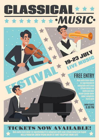 Colored music cartoon poster with classical music festival headline and description about event vector illustration Illustration