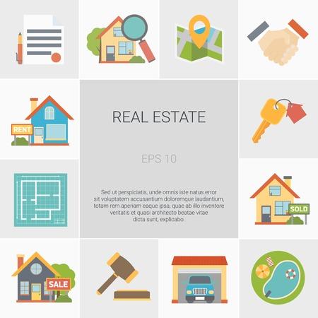 De vierkante die pictogrammen van onroerende goederen met de vlakke geïsoleerde vectorillustratie van huissymbolen worden geplaatst