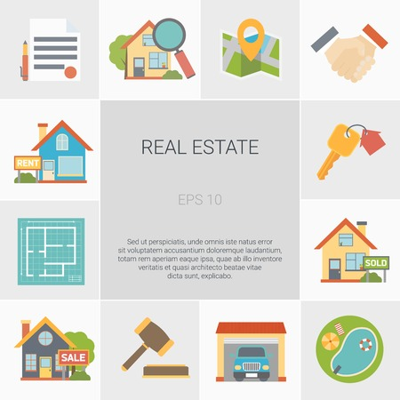 Real estate square icons set with house symbols flat isolated vector illustration Illustration