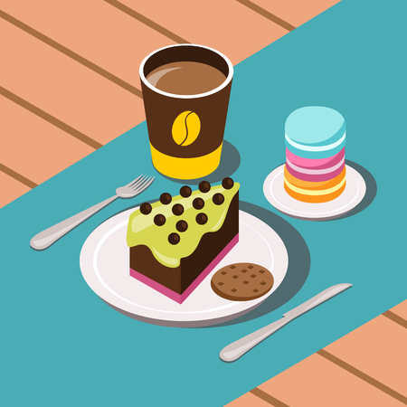 confection: Sweet breakfast cartoon composition with coffee cakes and cookies vector illustration