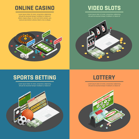 Online de sportenpook van het loterijcasino het gokken en videogroefmachines 4 isometrische pictogrammenconcept geïsoleerde vectorillustratie